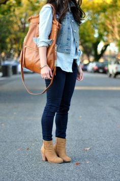 layers with denim jacket.