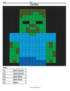 Minecraft Zombie- Color By Number