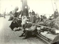Immigrants aboard a ship heading for the Port of New York, circa 1892.