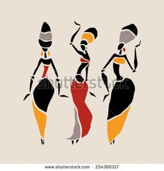 Figures of african dancers. Beautiful women. Dancing woman in ethnic style. Vector  Illustration. - stock vector