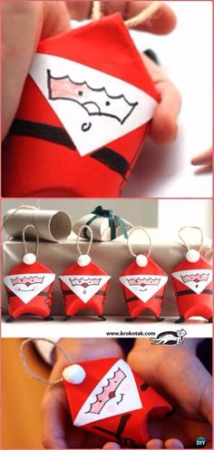 DIY Toilet Paper Roll Santa Tutorial - Paper Roll Christmas Craft Ideas & Projects