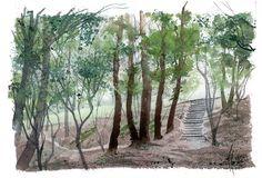 Watercolor, acuarela, paisaje Landscapes, Watercolor, Portrait, Places, Illustration, Artists, Staircases, Woods, Ink