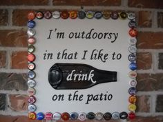 beer garden bottle cap sign