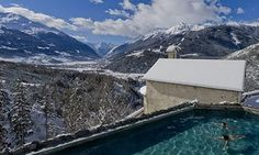 Taking the waters: the panoramic pool at QC Terme Bagni Vecchi near Bormio, Italy.