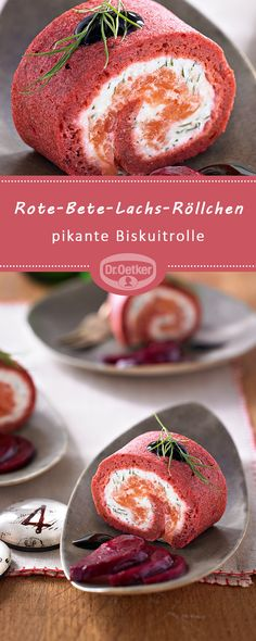 Rote-Bete-Lachs-Röllchen: Pikante Biskuitrolle mit Orangen-Crème-fraîche, Rä… Sponsored Sponsored Beetroot salmon rolls: Savory biscuit roll with orange-creme fraiche, smoked salmon and balsamic cream Oven Roasted Salmon, Baked Salmon, Brunch Recipes, Appetizer Recipes, Snack Recipes, Tasty Meal, Savoury Biscuits, Snacks Für Party, Halloween Food For Party