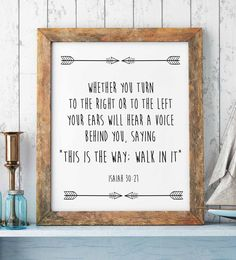 """Bible Verse Print, Isaiah 30-21, """"This is the way, walk in it."""" Scripture Art Print, Christian Prints, Christian Wall Decor, Christian Gift by saltstudioprints on Etsy"""