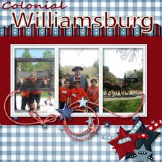 Digital Scrapbooking page idea for one of my williamsburg pages
