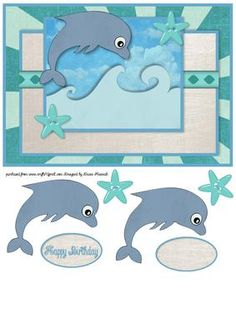 Dolphin Quick Card on Craftsuprint designed by Diane Hannah - Dolphin Quick Card. - Now available for download!