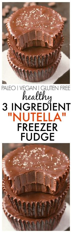 Healthy 3 Ingredient 'Nutella' Fudge Cups- Smooth, creamy and melt-in-your mouth fudge which takes minutes and has NO dairy, refined sugar or butter but you'd never tell- A delicious snack or dessert! {vegan, gluten free, paleo recipe}- http://thebigmansw http://eatdojo.com/easy-healthy-dessert-recipes-family-birthday/