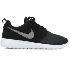 Nike Roshe One Sneakers ($75) ❤ liked on Polyvore featuring shoes, sneakers, nike, black, lace up shoes, laced up shoes, nike sneakers and round toe shoes