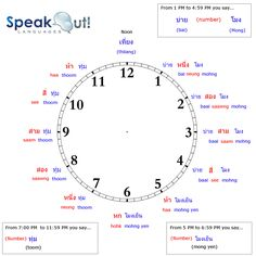 Telling Time in Thai http://www.speakoutlanguages.com/telling-time-in-thai/