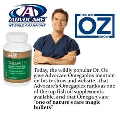 Talk show host, Dr. Oz, recommends Advocare's OmegaPlex, Probiotic Restore Ultra!  After investigating popular nutritional supplements on the market and finding shocking results, Dr. Oz recommends OUR products so that you avoid dangerous nutritional solutions and ensure that you and your family are only putting the highest quality products in your bodies, https://www.advocare.com/120724309