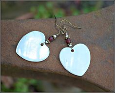Mother of Pearl Heart Earrings with Red by practicallyfrivolous