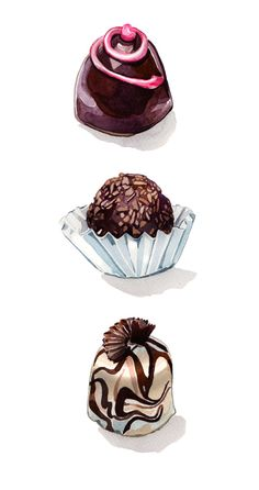 Chocolate Truffles by Holly Exley, via Behance Chocolate Tumblr, Chocolate Videos, Chocolate Day, Chocolate Quotes, Chocolate Truffles, Chocolate Desserts, Homemade Chocolate, Holly Exley, Chocolate Drawing