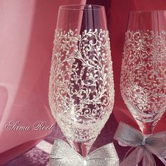 Купить Свадебные бокалы Джейн - серебряный, жемчужный, свадьба, свадебные бокалы, свадьба 2014, невеста