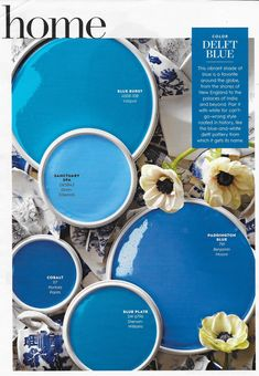 """""""Color Delft Blue"""" from Better Homes and Gardens, August Read it on the Texture app-unlimited access to top magazines. Best Blue Paint Colors, Paint Colors For Home, House Colors, Paint Color Palettes, Paint Color Schemes, Small House Floor Plans, Scrapbooking, Home Room Design, Colorful Garden"""
