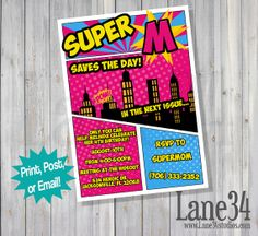 Black Friday SALE Pink and Blue Girl Superhero Save by Lane34Party, $4.00