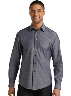 Casual Shirts - Pronto Blue Multistripe Sport Shirt, Gray and Navy - Men's Wearhouse