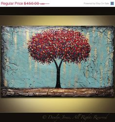 Red Tree Abstract Painting original acrylic on by Danlyes Paintings