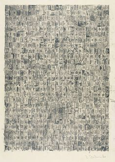 Jasper Johns ~ Gray Alphabets, 1960 (graphite wash on paper)