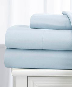 Look what I found on #zulily! Light Blue Dobby-Stripe Embossed Sheet Set by Royal London Hotel Collection #zulilyfinds