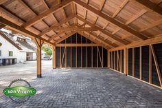 Carport Sheds, Carport Garage, Oak Framed Buildings, Timber Buildings, Pole Barn House Plans, Pole Barn Homes, Shed Design, Garage Design, Farm Shed