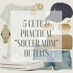 5 Cute & Practical Soccer Mom Outfits - Mom Dress Casual - ideas of Mom Dress Casual - 5 cute and practical soccer mom outfits for your style inspiration. You'll be appropriately casual but put-together with these simple outfit formulas. Soccer Mom Style, Soccer Mom Outfits, Soccer Mom Shirt, Summer Outfits For Moms, Casual Outfits For Moms, Spring Outfits, Cap Outfits, Casual Clothes, Women's Clothes