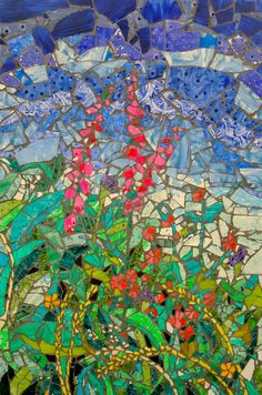 Cornish hedgerow II made with my hand painted tiles ~ shown at Art in Action 2013~ SOLD