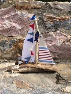 Sailboat Driftwood boat yacht gift for boy by hippiefishbeachart