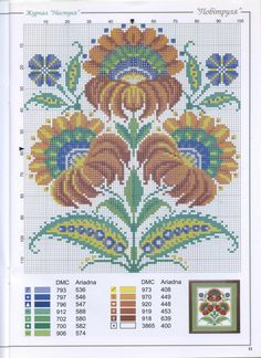 cross stitch - folk flowers