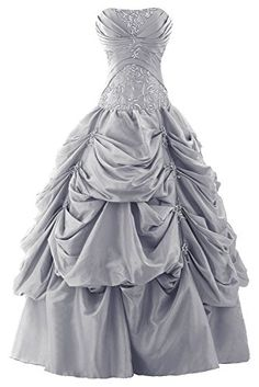 Sunvary Ball Gown Strapless Appliqued Ruffle Long Prom Gowns Quinceanera…