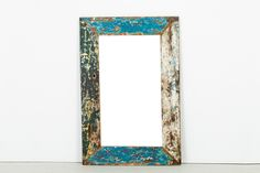 """Cahaya Mirror - XLR007   Frame constructed of retired fishing boat wood   L31"""" x H47.5"""" #teak #reclaimed #wood #colour #mirror #decor"""