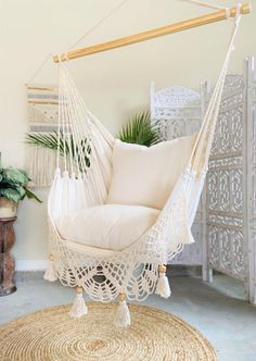 Loving the new trend? Add an indoor hammock chair to your space. Beautifully handcrafted with crochet macrame fringe. Soft and gorgeous. Ethically made by Limbo Imports Hammocks. Hammock In Bedroom, Indoor Hammock Chair, Indoor Swing, Bedroom Chair, Room Ideas Bedroom, Outdoor Hanging Chair, Hanging Beds, Outdoor Hammock, Living Room Hammock