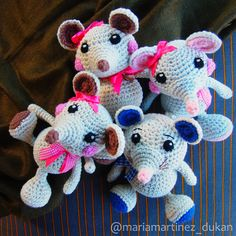 Ratitas, patrón gratis en inglés // Free English Pattern #Amigurumi http://www.littlemuggles.com/free-baby-mouse-pattern/