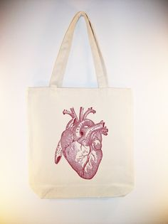 Vintage Anatomical Heart Image on 15x15 canvas tote  - available in larger zip top tote style