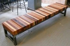 DIY bench~just find an old bench with good bones, replace top w/recycled wood, put a dowel /rod through keep all connected & secure....