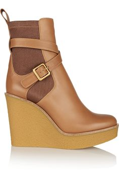 Chloé|Leather wedge boots|NET-A-PORTER.COM
