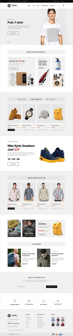 Buy Tanzim - eCommerce PSD Template by BDevs on ThemeForest. About Tanzim Tanzim is unique, modern and clean design template for eCommerce. Website Design Layout, Web Design Tips, Web Design Company, Web Layout, Page Design, Layout Design, Clean Design, Ecommerce Web Design, Ecommerce Websites