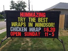 New board up on Cabana Best Wraps, New Board, Chicken Wraps, Cabana, Banners, Signs, Shop Signs, Cabanas, Sign