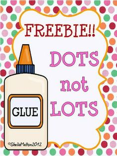 FREEBIE!! Signs for teaching using a dot of glue!