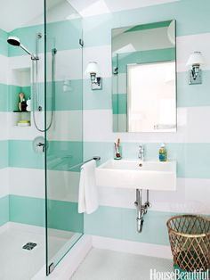 elegant canopy bed Aqua-and-white striped bathroom. Design: Angela Free Home Decor fall decor. home interior decorations Bathroom Colors, Mint Bathroom, Bright Bathrooms, Bathroom Designs, Turquoise Bathroom, Neutral Bathroom, Narrow Bathroom, Modern Bathrooms, Bathroom Layout