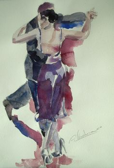 View Alicia Martínez's Artwork on Saatchi Art. Find art for sale at great prices from artists including Paintings, Photography, Sculpture, and Prints by Top Emerging Artists like Alicia Martínez. Watercolor Dancer, Watercolor Portraits, Watercolor Paintings, Watercolours, Dance Pictures, Dance Photos, Tango Art, Tango Dancers, Dancing Drawings
