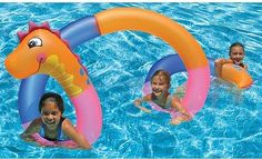 Three to four children can float at a time on the Seahorse twister measuring over 15' of fun!