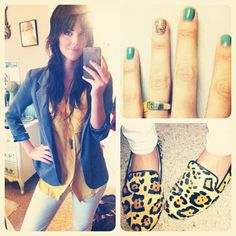 The last outfit of April: blazer- Urban Outfitters/ Blouse- Anthropologie/ Jeans- J Brand/ Shoes- Steve Madden/ ring- James Avery/ necklace- Urban Outfitters/ nail polish- OPI