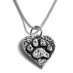 This new pendant necklace is the perfect reminder of your beloved furry companion(s)! It is a beautiful, delicate piece featuring a silver paw print stamped in a heart shape. The #jewelry signifies the owner's love for his/her pet.    Sterling Silver Rustic Paw Print and Heart Pendant with an 18 inch Sterling Silver Chain | Dog Jewelry Cat Jewelry Paw Print 14k Gold Sterling Silver