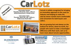 CarLotz will be hosting an info session on Thursday, March 6th from 12:30-1:30. Stop by to learn more about the career opportunities with this company!