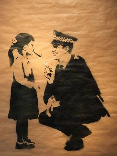 BANKSY _ POLICE GIVES GIRL A SMOKE