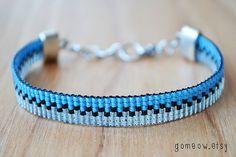 Mince Bracelet réglable / / bleu ciel / / métier / / par Gomeow
