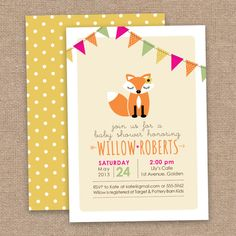 Perfect Fall Baby Invitation Girl Fox Baby Shower Invitation DIY Printable