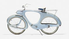 the Spacelander, a fiber-glass design by Benjamin Bowdon that included an electric motor which gathered energy when riding downhill or on flat ground.